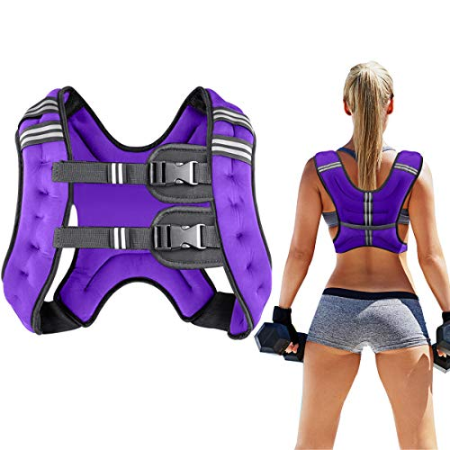 Prodigen Running Weight Vest for Men Women Kids 20 Lbs, Body Weight Vests for Training Workout, Jogging, Cardio, Walking, Elite Adjustable Weighted Vest Workout Equipment-Purple,20lbs