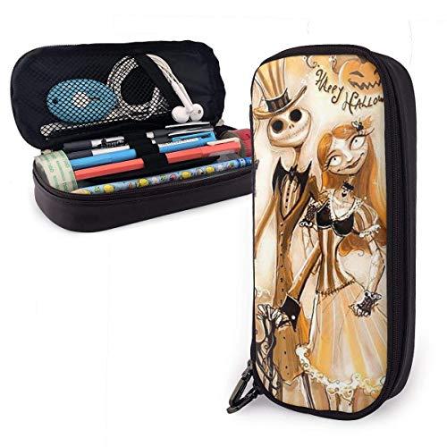 Federmäppchen mit Halloween Jack und Sally Big Capacity-Bleistiftbeutel, Make-up-Stiftetui, Schreibwaren mit doppeltem Reißverschluss, Stifthalter für Schule/Büro