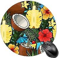 女性のための丸いマウスパッドかわいいマウスマット光学式マウスパッド古典的な装飾-ココナッツパイナップルパターン