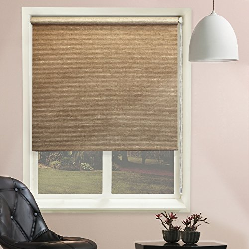 Chicology Continuous Loop Beaded Chain Roller Shades / Window Blind Curtain Drape, Natural Woven, Privacy - Candyfloss Coal, 23