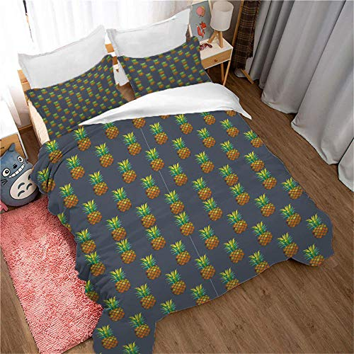 SDFWEWQ Printed Duvet Cover Blue King Size 94.5 x 86.6 inch Pineapple Pattern,3 Piece Bedding Sets Ultra Soft Hypoallergenic Microfiber Quilt Cover with Zipper Closure + 2 Pillowcases 19.7x29.5 inch