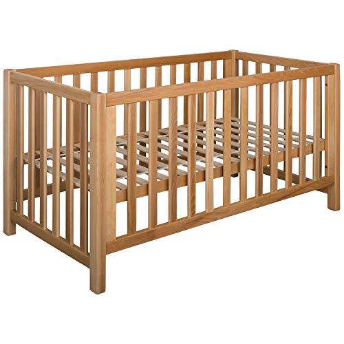 Schwarzwald Massivholz Multi Funtkions Baby Bett LINA Buche mit 4-Fach Funktion, Holzfarbe:Biogeölt, Größe Babybett:70x140