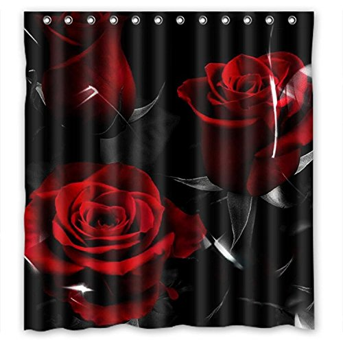 KXMDXA Glam Fire Red Rose And Black Leaves Waterproof Polyester Bath Shower Curtain Size 66x72 Inch