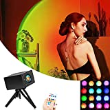 Sunset Lamp Projector, Color Changing 16 RGB Projection Led Night Light with Remote Control, Romantic Atmosphere Sun Rainbow Lamp for Cinema Theme Bedroom Bar Wedding Party