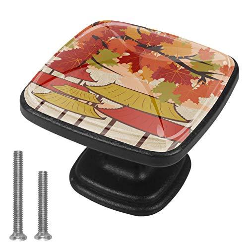 4 pomos redondos de metal para armario o cajón, estilo vintage japonés, hoja de arce