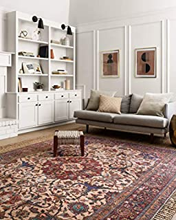 "Loloi Loren Collection Vintage Printed Persian Area Rug 7'-6"" x 9'-6"" Sand/Multi (B07419TCXM) 