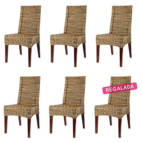 Rotin Design Rebajas : -45% Lote 6 sillas de Ratan para Comedor Desna Marrones, Modernas y Baratas