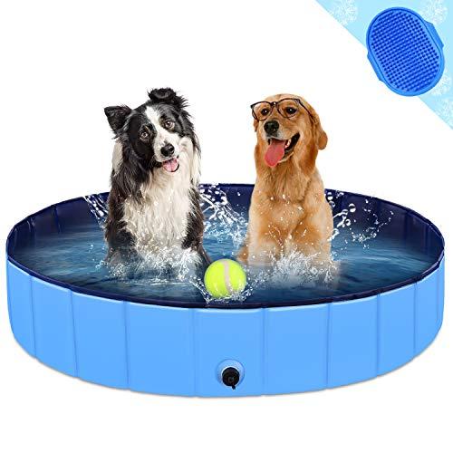 KingBaas Hundepool Faltbarer Hund Planschbecken Kinder Schwimmbecken Tragbares Haustier Swimmingpool Kinderpool Hundebadewanne PVC rutschfest Großes Hund Katze Doggy Pool für Innen/draussen 48