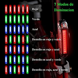Luz Trasera para Bicicleta Potente (2 Paquetes) Luz de Seguridad LED Recargable USB Piloto Luz Trasera Impermeable para Ciclismo Súper Brillante Rojo Verde Azul 7 Modos Adecuada para Bici de Carretera
