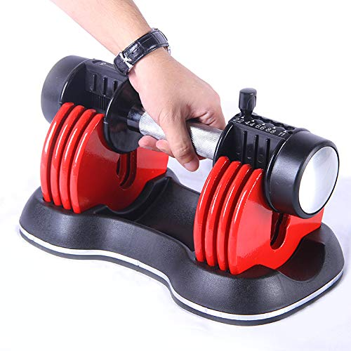 Strongology Home Fitness Adjustable Single Smart Dumbbells from 2kg to 11kg Training Weights in Red