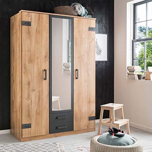 lifestyle4living Kleiderschrank mit Spiegel, Planken Eiche Dekor, Graphit-Grau, 135 cm | Drehtürenschrank 3 türig mit 2 Schubladen im Industrial Stil