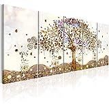 murando Cuadro Acústico Arbol Klimt 225x90 cm XXL Impresión Artística 5 Piezas Lienzo de Tejido no Tejido Estampado Decoración de Pared Aislamiento Absorción de Sonidos Abstracto l-A-0009-b-n