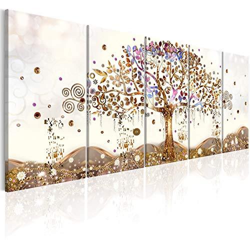 murando Quadro acustico Albero Klimt 225x90 cm XXL 5 pezzi Quadri Moderni su Tela non Tessuta Stampa...