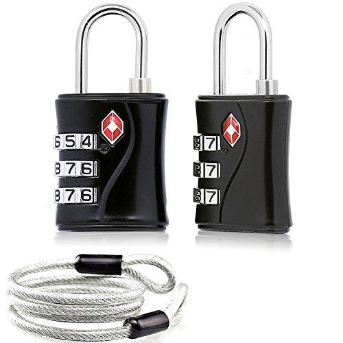 2 x TSA Candado Combinacion Seguridad Maleta Equipaje Taquilla Candados Viaje Taquilla Lock eeuu con Cable de Bloqueo 100 cm (Negro)