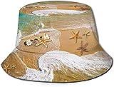MODORSAN Surf Beach Starfish Print Bucket Hat Pescador Pesca Gorra para el Sol para Mujeres Viajes
