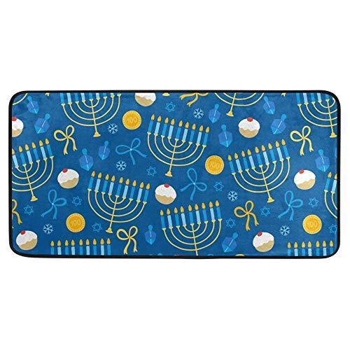 Glaphy Snowflakes itchen Floor Mat Happy Hanukkah Kitchen Rug Absorbent Area Doormats for Entryway Bathroom Bedroom Decor 39x20in