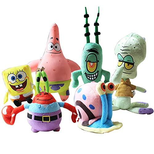 6 muñecos Bob Esponja juguetes de peluche Pie Big Star Doll Ragdoll Almohada Regalo