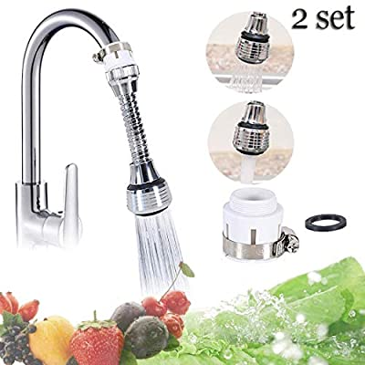 2 x 360 Degree Rotatable Swivel Faucet Water Saving Filter Sprayer for Bathroom Kitchen Tap Nozzle Filter Adapter
