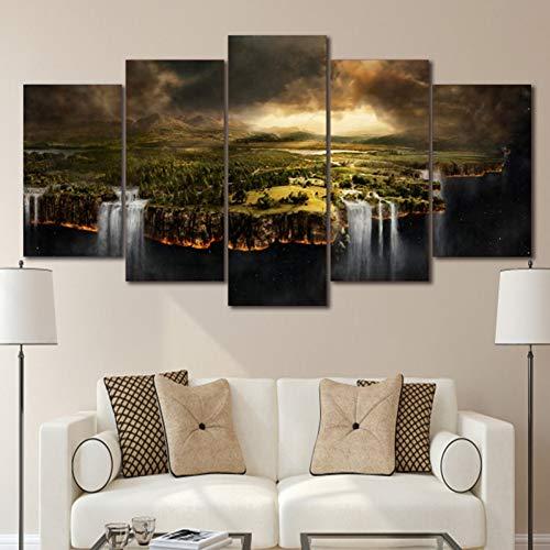 GIAOGE schilderij schilderijen wooncultuur canvas schilderij 5 stuks rand van de aarde landschap wandschilderijen voor woonkamer schilderen Frame 30 x 50 30 x 70 30 x 80 cm.