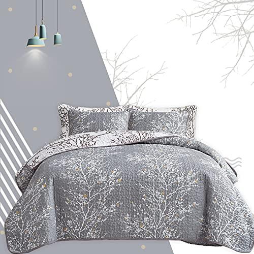 5-teiliges Bettwäsche-Set für Doppelbetten mit grau-weißem Ast & gelben Punkten, Tagesdecke, Tagesdecke, Wendedecke 68 x 86 cm, 1 Kissenbezug, 1 Bettlaken, 1 Spannbetttuch, 1 Kissenbezüge.