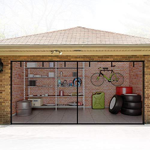 Qiandy Magnetic Garage Door Screens 2 Car 16x7ft Update Double Door Self Sealing Fiberglass Mesh Garage Screen Cover Kit Garage Door Curtain