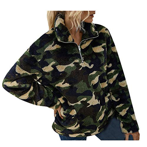 Lazzboy Women Pullover Slouch Jumper Teddy Fleece Faux Fur Plaid Print...