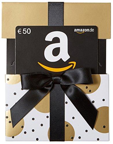 Amazon.de Geschenkkarte in Geschenkschuber - 50 EUR (Gold mit Punkten)