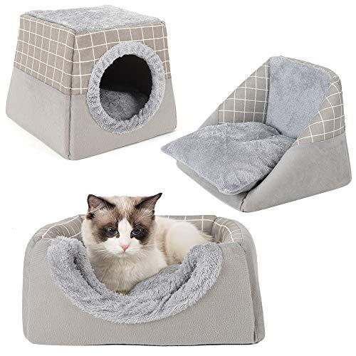 Ryoizen Cama Gato Suave Cueva para Perros Gatos con Cojín Extraíble y Lavable,Cama para Mascotas 2 en 1,Cesta para Gatos y Perros(L,Gris)