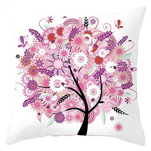 KnBoB Funda Cojin Flor, Hojas, Árbol 45 x 45 cm Poliéster Blanco Rosa Estilo 20