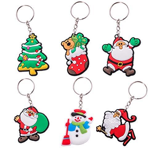 Toyvian 12 stücke Santa Schneemann Baum Schlüsselanhänger Nette Autoschlüssel Weihnachtsbaum Weihnachtsbaum Ornament Dekoration für Kinder Frauen Mädchen