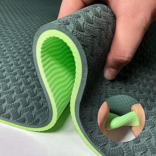 Yoga Mat Exercise Mats 8mm TPE Non Slip Extra Thick High Density Eco Friendly for Yoga,Workout,Pilates