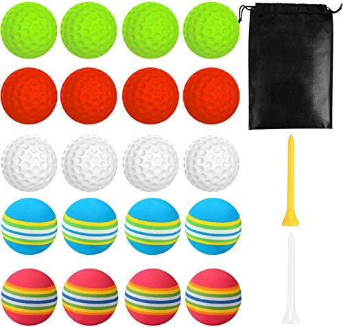 20 pelotas de golf de práctica, pelotas de espuma elástica, pelotas de golf de interior y exterior, para entrenamiento, pelotas de juguete con 2 camisetas de golf y bolsas de golf