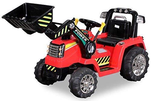 Kinder Elektrobagger mit 2 x 25 Watt Motoren Elektro Bagger Kinderauto Kinderfahrzeug Spielzeug für Kinder Kinderspielzeug (Rot)