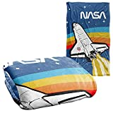 NASA Logo Over Space Shuttle with Rainbow Silky Touch Super Soft Throw Blanket 36' x 58'