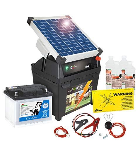 Eider Weidezaungerät ecoPOWER1000-12 Volt, mit 10 Watt Solar & 80 Ah Akku - mit Tiefenentladeschutz - handliches Elektrozaungerät zum Hüten von Nutztieren und Pferden