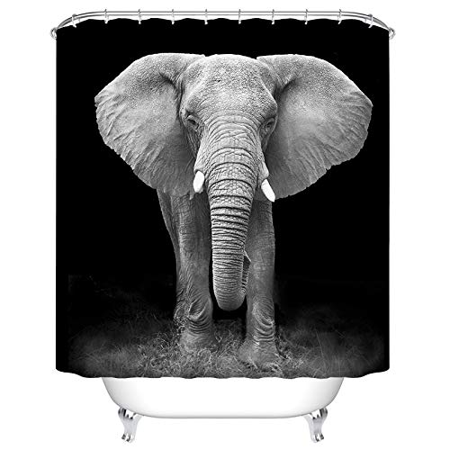 BEEBEE Elephant Shower Curtain for Bathroom Shower Curtain Set with Hooks Polyester Fabric 72 x 72 inches