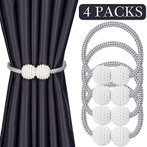 Magnetic Curtain Tiebacks, Decorative Holdbacks for Big Wide Thick Window Drapes Hooks Drapery Tie Backs Holder Strong Rope Buckles Home Office Bedroom Living Room Decoration 16 Inch 4 Packs (Silver)