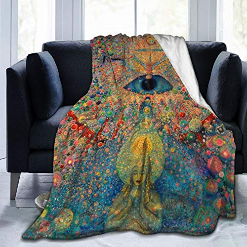 D-WOLVES Zen Buddha Trippy Fleece Throw Blankets - 60 x 80 Inch, Luxury Soft Plush Sofa Blanket, Fuzzy Reversible TV Blankets and Throws, Easy Care, Fall Winter and Spring Use