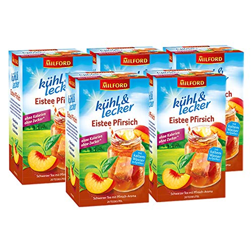 Milford kühl & lecker Eistee Pfirsich, 20 Teebeutel / 5er Pack