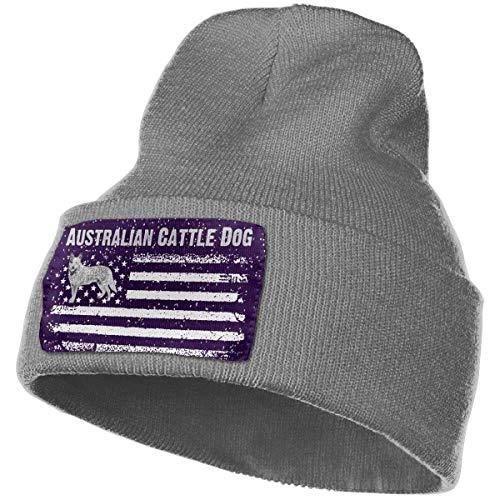 Tedtte Sombrero de Punto Unisex Gorro de Calavera de Moda Sombreros de Tejer - Bandera de América del Perro de Ganado Australiano