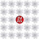 FLOFIA 24 Flores Navidad Artificiales Navideñas Flor de Pascua Navidad Poinsettia Brillante Artificial con Purpurina Adorno de Árbol de Navidad DIY Guirnalda Corona Decorativa (Plateada)