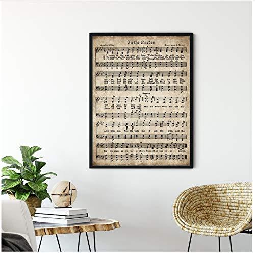 Vektenxi Music Hymn in The Garden Canvas Prints Antique Sheet Music Scripture Wall Art Picture Painting Christian Gift Farmhouse Decor -60x80cm No Frame