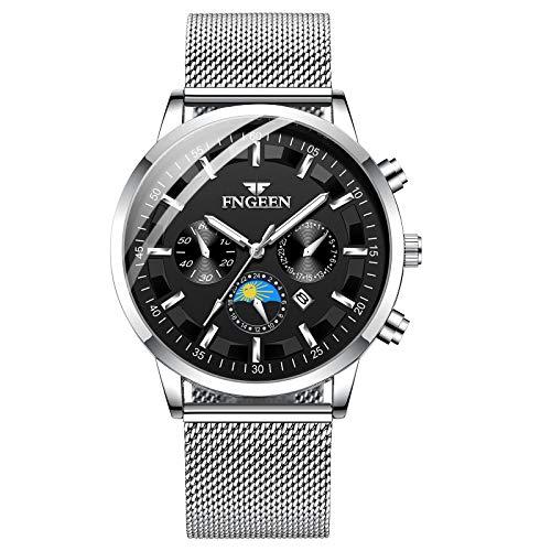Infinity U-Watches per uomo Moda impermeabile orologio al quarzo sportivo Quadrante nero Orologio da polso in acciaio inossidabile Calendario Orologio da lavoro per uomo Puntatore luminoso