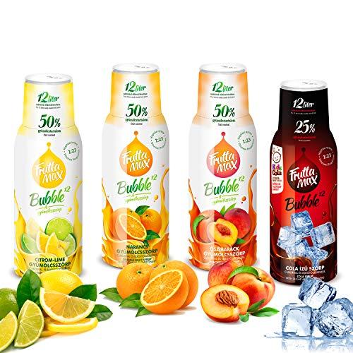 Frutta Max Getränkesirup Frucht-sirup Konzentrat | Orange-Zitrone-Limette-Cola-Pfirsiche- | weniger Zucker | mit 50% Fruchtanteil | für Soda Maschine geeignet 4erPack(4x500ml)