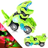 YogiMall Transforming Dinosaur 2-in-1 LED Car Toy. Automatic Transformation from Car to Dinosaur with Lights and Sound. Ultimate for Kids. (Green)