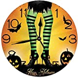 HASEGI 丸い壁時計の家の装飾、ストライプのレギンスと漫画魔女の脚西洋の概念コウモリとカボチャのテーマプリントリビングベッドルーム