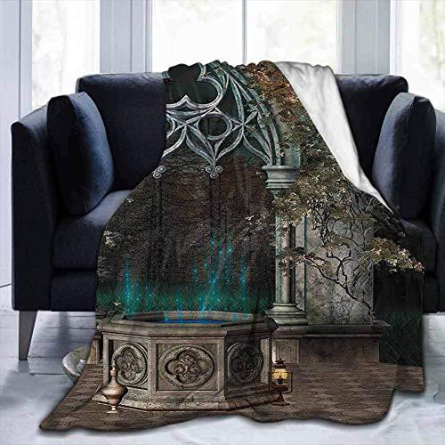 Flanell Leichte süße weiche Decken Gotik, altes Tor zum Wald, für Sofa Stuhl Bett Büro Reisen Camping