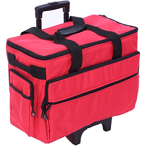 BlueFig TB19 Sewing Machine Rolling Carrying Case Trolley Bag with Wheels for Brother, Bernina, Singer Wheeled Tote Carrier (Red)