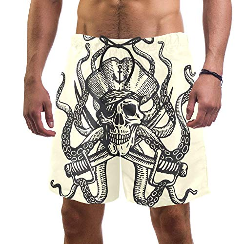 Piraten Octopus Herren-Badehose, schnelltrocknend, elastischer Taillenbund mit Kordelzug Gr. XXL, multi