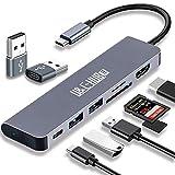USB C Hub 7 in 1 Dongle auf HDMI Multiport Adapter mit 4K HDMI Ausgang 2 USB 3.0 Ports SD/TF Kartenleser 100W PD Kompatibel für MacBook Pro & Air Zubehör USB C Laptops Weitere Typ C Geräte Device